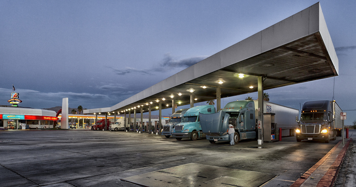 truck stop at night