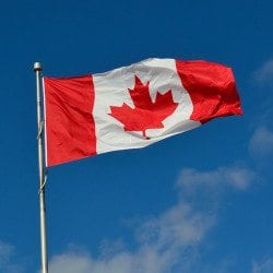 A Canadian Flag flying before electronic logging devices are required in Canada