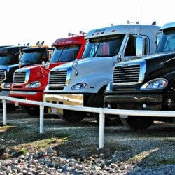 a fleet of trucks using a fleet management system
