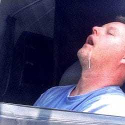 a very tired trucker