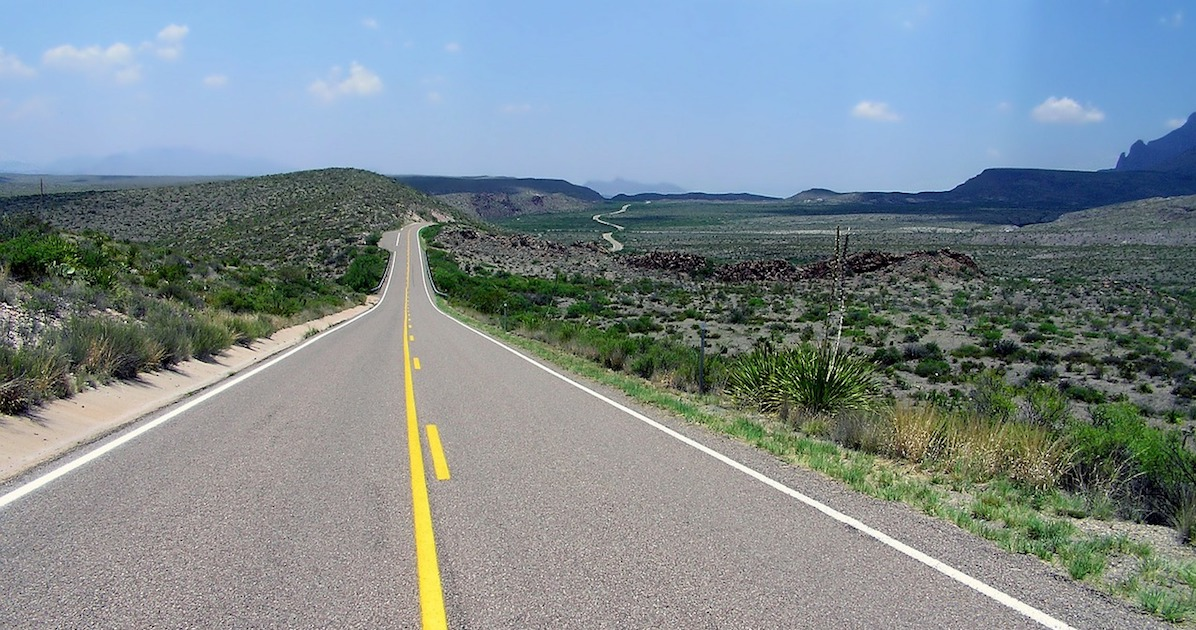 an open road that trucks using telematics frequently cross