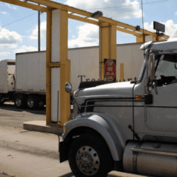 a truck with an ELD crossing the Canadian border