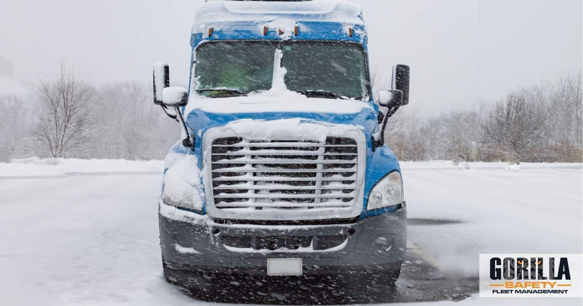 a truck following our winter driving tips