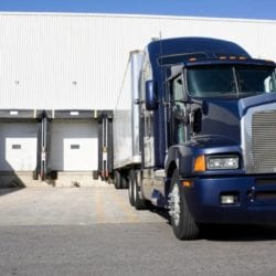 a truck delivering supplies related to Coronavirus / COVID-19
